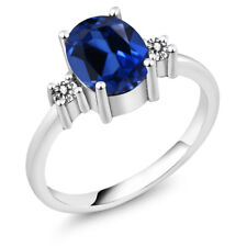 2.43 Ct Oval Blue Simulated Sapphire White Diamond 925 Sterling Silver Ring