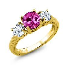 2.66 Ct Pink Created Sapphire White Topaz 18K Yellow Gold Plated Silver Ring