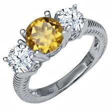 2.75 Ct Round Champagne Quartz 925 Sterling Silver Ring