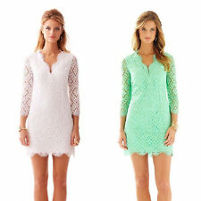 SALE ! 2015 Lilly Pulitzer MERYL LONG SLEEVE LACE V-NECK SHIFT DRESS $348