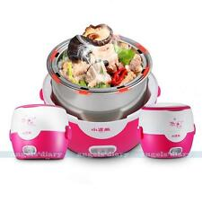 Electric Portable 1.3L Lunch Mini Rice Cooker Stainless Steel Food Steamer Pot