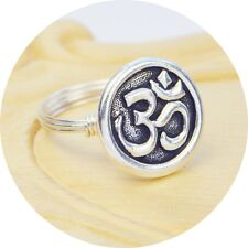 Large Yoga Ohm Bead and Sterling Silver Filled Wire Wrapped Ring- Any Size 4-14
