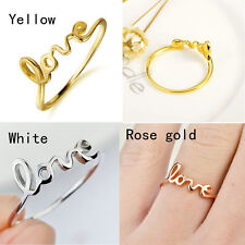 18K Gold 925 Sterling Silver Love Cursive Script Writing Text Word Band Ring