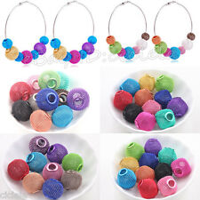 DIY Big Hole Colorful Large Mesh Bling Rondelle Ball Beads Fit European Charms