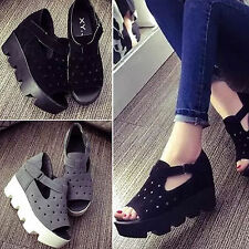 Women Chunky Wedge Platform Slip On Flatform Velcro Buckle Hollow Sandals Shoes