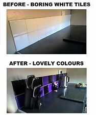 "Black & Purple Stickers Transfers for Kitchen Bathroom Tiles  6 x 6"" Inch 150mm"