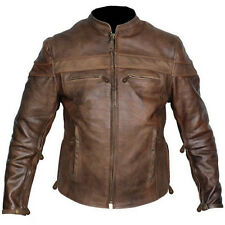 Mens TALL sizes retro brown buffalo hide cafe leather motorcycle jackets new