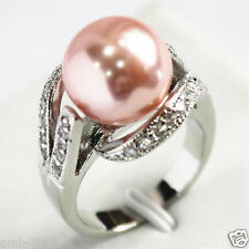 12mm Pink South Sea Shell Pearl Gemstone Jewelry Ring Size 6/7/8/9 AAA Grade