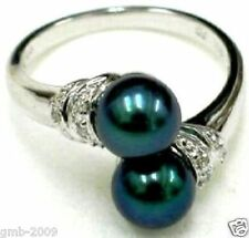 Noblest 18K GP 8mm Real Black South Sea Shell Pearl Ring Size 7 8 9