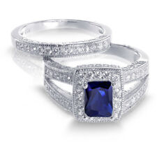 Emerald Cut Royal Blue Sapphire CZ Engagement Wedding Sterling Silver Ring Set