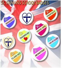 LARGE ST TRINIANS BADGES/HEAD GIRL/PREFECT/SINNER/FAB FANCY DRESS