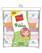9 Hanes Girls No Ride Up Cotton TAGLESS Bikinis Panties Assorted Colors Best