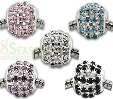 10 Silver Plated Hollow Rhinestone Beads Fit Charm Bracelet 12x11mm M0031