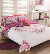 Medallion Persian Bohemian White Pink Single Bed Quilt Cover Set Cushion