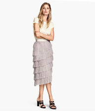 H&M CONSCIOUS EXCLUSIVE 2015 Fringed Lyocell  SKIRT SIZE 36 S 8, 6BLOGGER