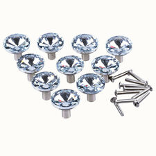LONGWIN Clear Diamond Crystal Kitchen Cabinet Knobs Nickel Brushed Drawer Pulls