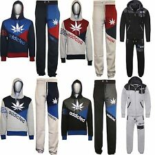 NEW Mens ADDICTED Contrast Tracksuit Sweat Top & Jog Track Bottoms Set S M L XL