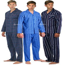 Mens Flannel Pyjamas 100% Cotton Sizes M - 5XL Check Stripe Long Sleeve Thermal