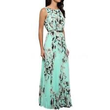 Women Summer Floral Pleated Long Maxi Evening Party Cocktail Chiffon Beach Dress