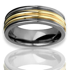 Mens Titanium N 14k Yellow Gold Inlay Comfort Fit Ring 7mm Wide Wedding Band