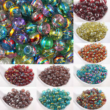 New Mixed Colours 'OILY DRIZZLE' Glass Drawbench Round Beads - Choose 6mm & 8mm