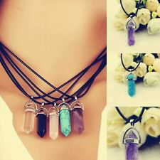 Natural Crystal Hexagonal Point Pendant Chakra Gemstone Jewelry Necklace Beads