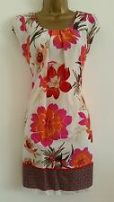 NEW DP Size 8 10 12 Red Pink White Border Hem Floral Print Tunic Dress