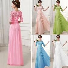 Long Ladies Sexy Half Sleeve Bridesmaid Evening Formal Lace Prom Maxi Dress Gown