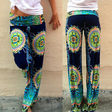 New Retro Women's Floral Printed Casual Wide Leg Palazzo Loose Pants Trousers