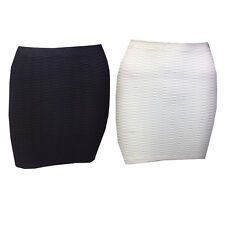 New Womens Ladies Ribbed Bodycon Mini Skirt Stretch Party Skirts Size 8-14