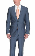 Alfani RED Slim Fit Solid Heather Blue Two Button Wool Blend Suit