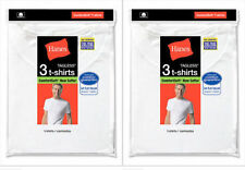 6 Hanes Big Mens White Crew Neck T-Shirt Undershirt Value Pack 2XL-3XL Best Sell