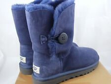 Ugg Australia Bailey Button Classic Short Navy Suede Sheepskin Women's NEW Uggs