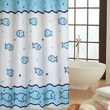 Blue Fishes Printed Shower Curtain Home Waterproof New Bathroom Curtain
