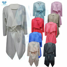Women's Ladies Italian Design Waterfall Belted Long Sleeve Trench Coat A LOT