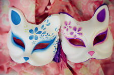 Hand-Painted Half Face Japanese Style Cosplay Fox Masks Masque Party Halloween
