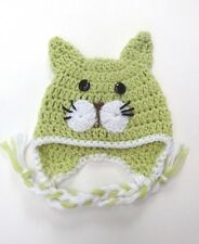 CROCHET CAT KITTY BABY EAR FLAP HAT knit infant toddler ADULT beanie photo prop