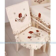Satin Fabric Peony Embroidered Tie-on Seat Cushion Pad Dining Chair Cover #229