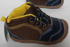 CARTER'S CHILD of MINE BABY BOY MID BOOTS BROWN & BLUE LACE UP NEW