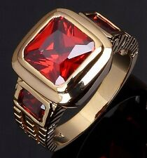 Size 8,9,10,11,12 Red Garnet Solitaire 10KT Gold Filled Mens Fashion Rings Gift