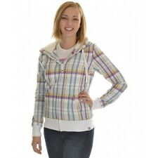 Roxy Canoe Full Zip Snowboard Hoodie White Farmer Plaid WMS