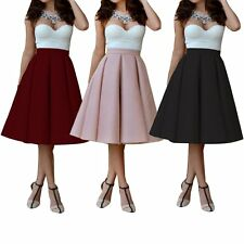 Women Stretch High Waist Plain Skater Flared Pleated Long Maxi Skirt Dress