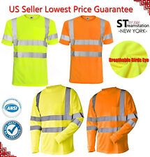 ANSI Class II Reflective Safety Lime Short Sleeve T-Shirt HIGH VISIBILITY Hi-Vis
