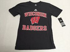 Wisconsin Badgers Official NCAA T-Shirt New 100% Cotton adidas Licensed College