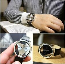 New Leather Band Stainless Steel Sport Analog Quartz Women Mens Wrist Watch