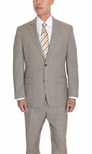 Michael Kors Modern Fit Tan Glen Plaid With Blue Windowpane Wool Suit