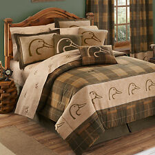 NEW Ducks Unlimited Plaid Comforter & Sheets Bed in Bag Set~Twin Full Queen King