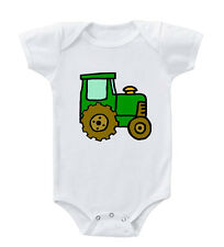 Green Brown Farm Tractor Infant Toddler Baby Cotton Bodysuit One Piece