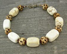 Stone and Bone Unisex or Mens Bracelet with Natural Magnesite, Small - Plus Size