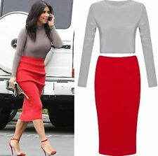 New Womens Ladies Celeb Inspired Long Sleeve Top Midi Pencil Skirt Co-Ord Set